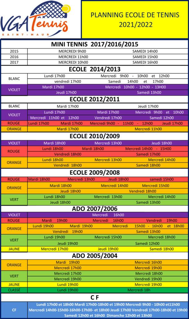 Planning Ecole Tennis